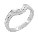 Art Deco Scrolls and Wheat Engraved Platinum Rounded Curved Wedding Band