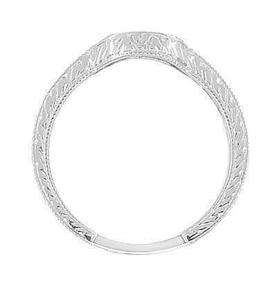 Art Deco Diamond Engraved Wheat Wedding Band in Platinum - Rounded Contoured - Item: WR178PD - Image: 4