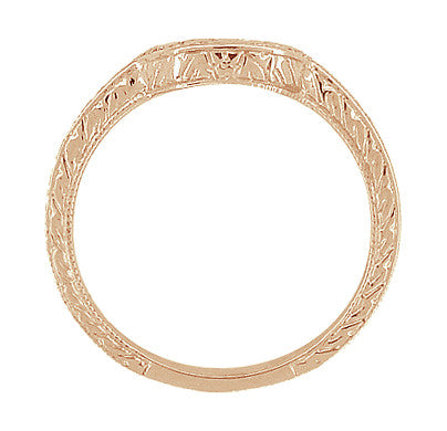 Vintage Engraved Wheat and Scrolls 14 Karat Rose Gold Curved Wedding Band - Item: WR178R - Image: 4