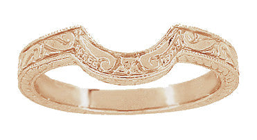 Vintage Engraved Wheat and Scrolls 14 Karat Rose Gold Curved Wedding Band - Item: WR178R - Image: 1