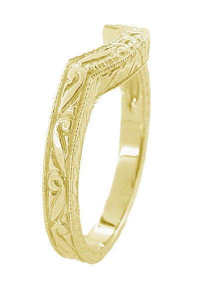 Art Deco Engraved Scrolls and Wheat Curved Wedding Band in 18 Karat Yellow Gold - Item: WR178Y - Image: 2