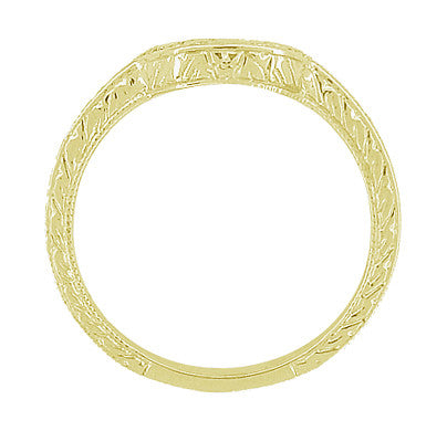 Art Deco Engraved Scrolls and Wheat Curved Wedding Band in 18 Karat Yellow Gold - Item: WR178Y - Image: 4