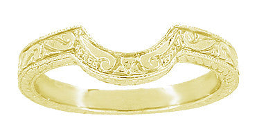 Art Deco Engraved Scrolls and Wheat Curved Wedding Band in 18 Karat Yellow Gold - Item: WR178Y - Image: 1