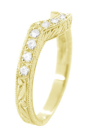 Art Deco Diamond Engraved Wheat Curved Wedding Band - 18 Karat Yellow Gold - Item: WR178YD - Image: 2