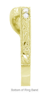 Art Deco Diamond Engraved Wheat Curved Wedding Band - 18 Karat Yellow Gold - Item: WR178YD - Image: 5