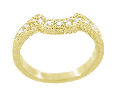 Art Deco Diamond Engraved Wheat Curved Wedding Band - 18 Karat Yellow Gold