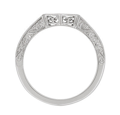 Contoured Art Deco Filigree Scrolls Wedding Band in 14 Karat White Gold - Item: WR180W - Image: 1