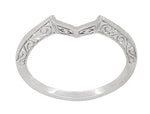 Contoured Art Deco Filigree Scrolls Wedding Band in 14 Karat White Gold