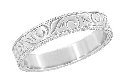 Men's Art Deco Scrolls Engraved Wedding Band in Platinum