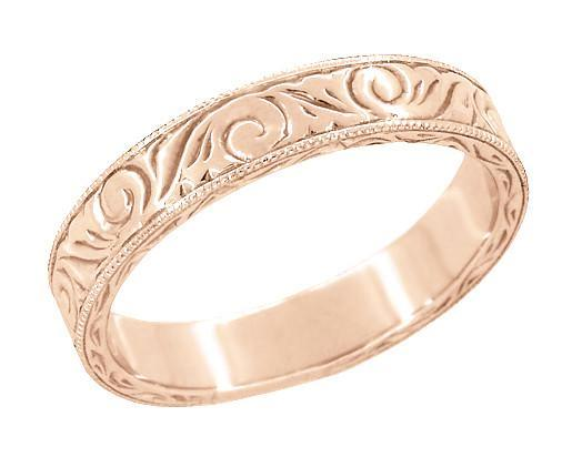Mens Art Deco Scrolls Engraved Wedding Band in 14 Karat Rose Gold