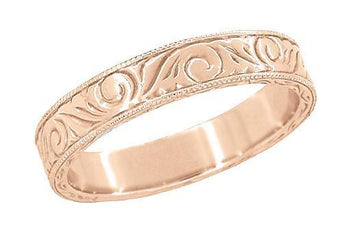 Men's Art Deco Scrolls Engraved Wedding Band in 14 Karat Rose Gold