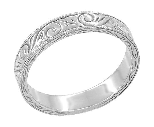 Men's Art Deco Scrolls Vintage Engraved Wedding Band in 18 Karat White Gold - Item: WR199MW - Image: 2