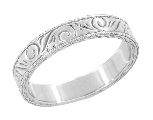 Men's Art Deco Scrolls Vintage Engraved Wedding Band in 18 Karat White Gold - Item: WR199MW - Image: 1