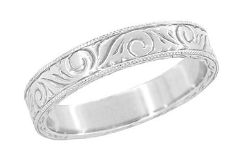 Men's Art Deco Scrolls Vintage Engraved Wedding Band in 14 or 18 Karat White Gold - 4mm Wide