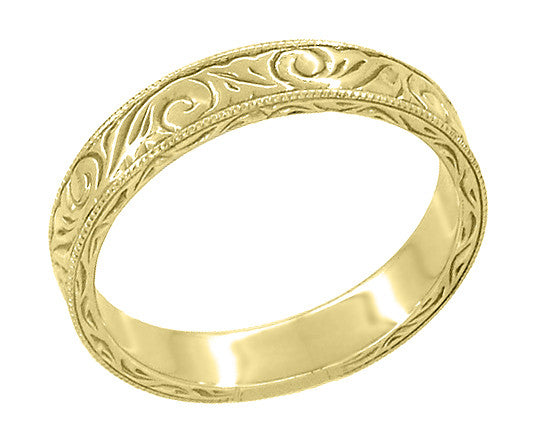 Men's Yellow Gold Art Deco Antique Scrolls Engraved Wedding Band - 14K or 18K - Item: WR199MY14 - Image: 2