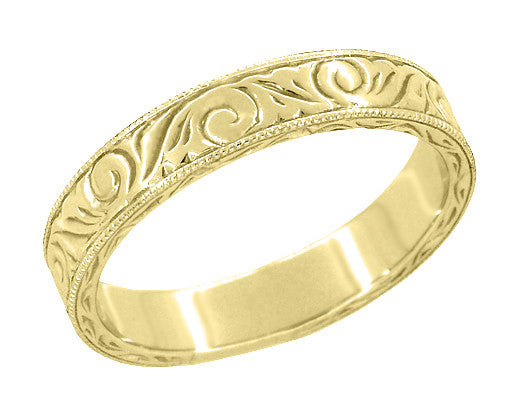 Men's Yellow Gold Art Deco Antique Scrolls Engraved Wedding Band - 14K or 18K - Item: WR199MY14 - Image: 1