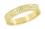 Men's Yellow Gold Art Deco Antique Scrolls Engraved Wedding Band - 14K or 18K