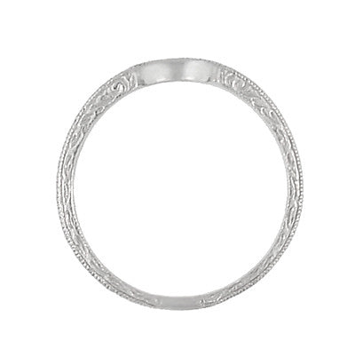 Art Deco Scrolls Engraved Curved Wedding Band in Platinum - Item: WR199P50 - Image: 4