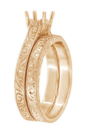 Art Deco Scrolls Coordinating Engraved Wedding Band in 14 Karat Rose ( Pink ) Gold - Item: WR199PRR75 - Image: 1