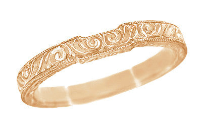Art Deco Scrolls Contoured Engraved Wedding Band in 14 Karat Rose Gold