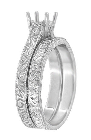 Art Deco Engraved Scrolls Contoured Wedding Band in 18 Karat White Gold - Item: WR199PRW75 - Image: 1