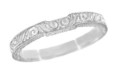 Art Deco Engraved Scrolls Contoured Wedding Band in 18 Karat White Gold