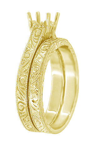 Art Deco Scrolls Contoured Engraved Wedding Band in 18 Karat Yellow Gold - Item: WR199PRY75 - Image: 1