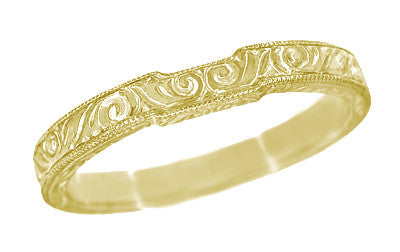 18 Karat Yellow Gold Art Deco Contoured Engraved Scrolls Wedding Band