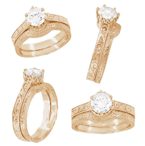 WR199R Vintage Curved Rose Gold Wedding Ring and an Engagement Ring Together as a Bridal Set