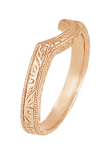 Art Deco Scrolls Engraved Contoured Wedding Band in 14 Karat Rose Gold - Item: WR199R - Image: 1