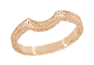 Art Deco Scrolls Engraved Contoured Wedding Band in 14 Karat Rose