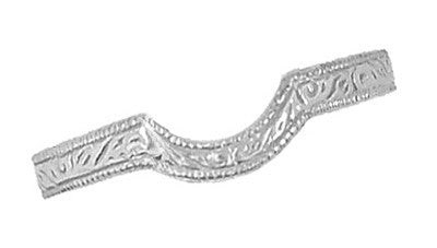 Art Deco Carved Scrolls Contoured Wedding Band in 18 Karat White Gold - Item: WR199W - Image: 2