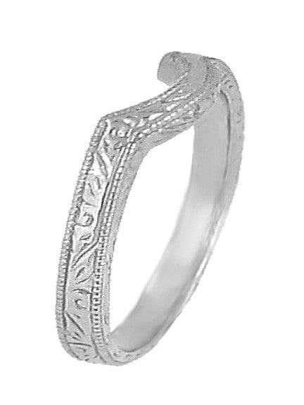 Art Deco Scrolls Engraved Curved Wedding Band in White Gold - Item: WR199W50K14 - Image: 1