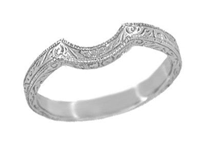 Art Deco Scrolls Engraved Curved Wedding Band in White Gold