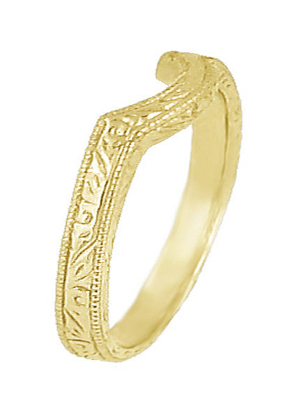 Art Deco Scrolls Engraved Contoured Wedding Band in 18 Karat Yellow Gold - Item: WR199Y - Image: 1