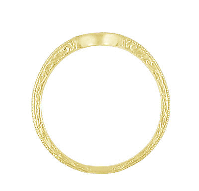 Art Deco Yellow Gold Vintage Engraved Scrolls Curved Wedding Band - Item: WR199Y50K14 - Image: 4