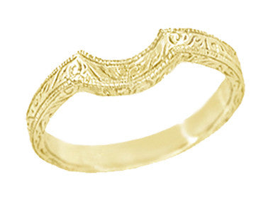 Art Deco Engraved Scrolls Curved Wedding Band in 18 Karat Yellow Gold