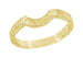 Art Deco Carved Scrolls Contoured Yellow Gold Wedding Band - 14K or 18K