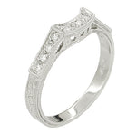 Art Deco Platinum Filigree Carved Coordinating Diamond Wedding Ring