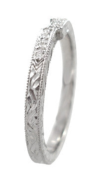 Art Deco Engraved Companion Diamond Wedding Ring in Platinum - Item: WR283 - Image: 2