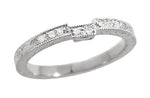 Art Deco Engraved Companion Diamond Wedding Ring in Platinum