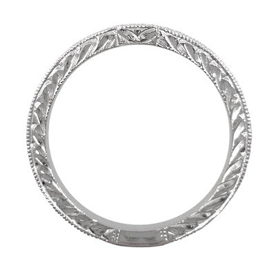 Art Deco Diamond Engraved Companion Wedding Ring in Platinum - Item: WR283P1 - Image: 2