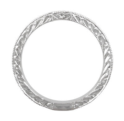 Art Deco 18 Karat White Gold Notched Engraved Diamond Wedding Ring - Item: WR283W50 - Image: 1