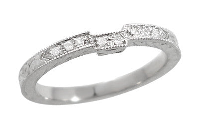Art Deco 18 Karat White Gold Notched Engraved Diamond Wedding Ring