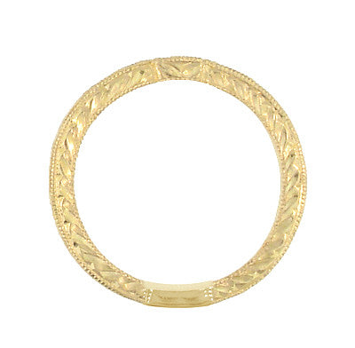 Art Deco Diamond Engraved Companion Wedding Ring in 18 Karat Yellow Gold - Item: WR283Y50 - Image: 1