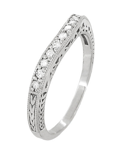 Art Deco Curved Filigree and Wheat Engraved Diamond Wedding Band in Platinum - Item: WR296PD - Image: 1