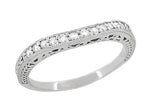 Art Deco Curved Filigree and Wheat Engraved Diamond Wedding Band in Platinum