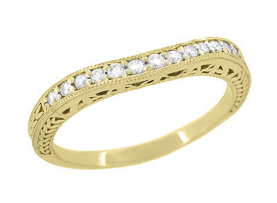 Art Deco Curved Filigree and Wheat Engraved Diamond Wedding Band in 18 Karat Yellow Gold