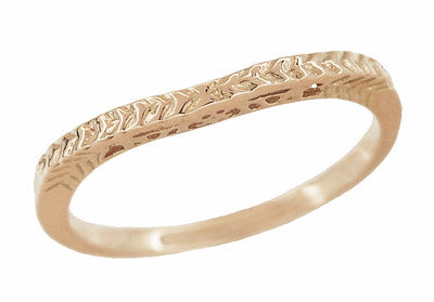 Art Deco Crown of Leaves Curved Filigree Engraved Wedding Band in 14 Karat Rose Gold