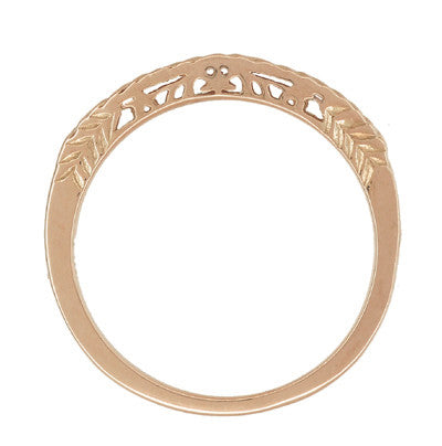Art Deco Crown of Leaves Filigree Curved Engraved Wedding Band in 14 Karat Rose Gold - Item: WR299R50 - Image: 2